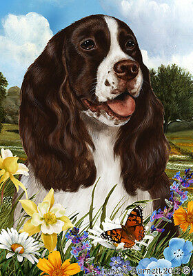 Large Indoor/Outdoor Summer Flag - Liver & White English Springer 18031
