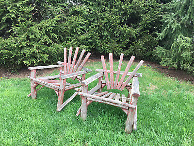 Pair of Folky Vintage Adirondack Chairs Rustic with old Red Paint
