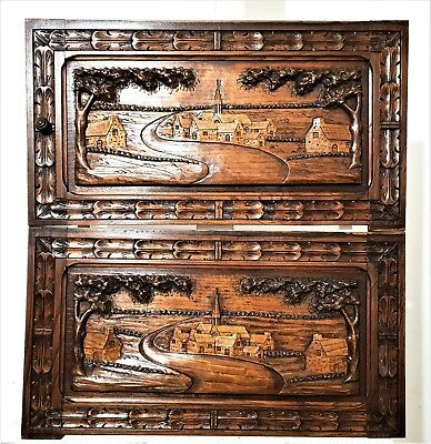 Pair Cabinet Door Antique French Hand Carved Wood Britany Breton Landscape Panel