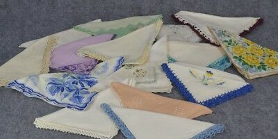 vintage handkerchief hanky lot print floral embroidered crochet 15  cotton 1940