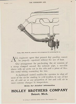 The Horseless Age November 1 1911 Original full page ad Holley Brothers Co.