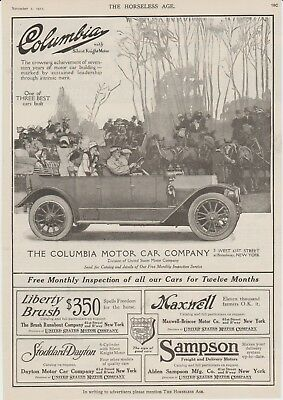 The Horseless Age November 1 1911 Original full page ad Columbia Motor Car Co.