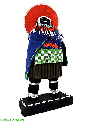 Zulu Doll Beaded with Red Headdress South African Art