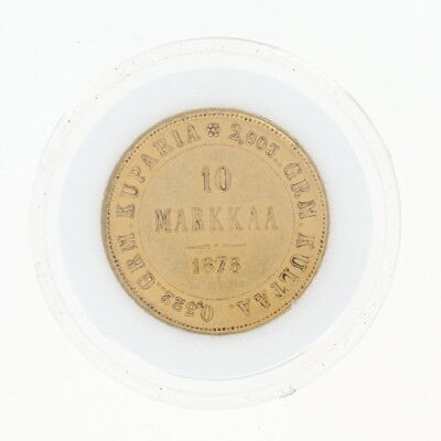 1878 Authentic 10 Markkaa Finnish Coin - 900 Gold Imperial Russia Finland