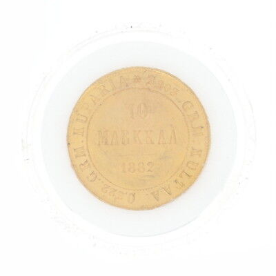 Authentic 1882 Finnish 10 Markkaa Coin - 900 Gold Imperial Russia Finland
