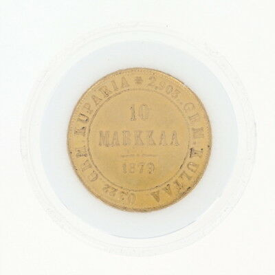 1879 Authentic Finnish 10 Markkaa Coin - 900 Gold Imperial Russia Finland