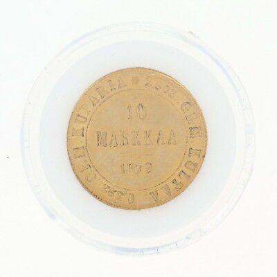 1879 Authentic 10 Markkaa Finnish Coin - 900 Gold Imperial Russia Finland