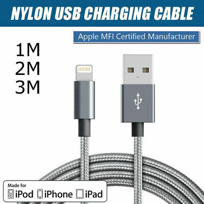 1M/2M/3M Genuine USB Nylon Cable Cord Charger for Apple iPhone X 8 7 6 5 5s iPad