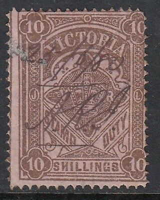 VICTORIA 1884-96 10/- STAMP DUTY, Fiscal cancel