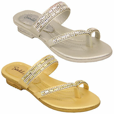 d2c28dce65bcfc Girls Sandals Kids Infants Diamante Slip On Slippers Toe Post Casual  Fashion New