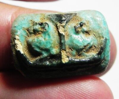 Zurqieh - As4775- Ancient Egypt,  Faience  Amulet With Baboons. 600 - 300 B. C