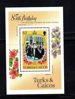 Turks & Caicos Islands #679 1985 Queen Mother 85Th Birth.   Mint  Vf Nh  O.g S/s