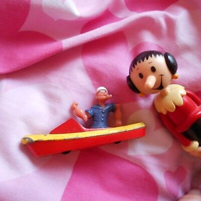 POPEYE in metal boat OLIVE OYL FIGURE DOLL MODEL TV TOY gift TOP set