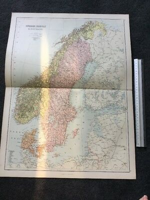 Antique Sheet Map. Blacks 1884. Sweden, Norway & Denmark