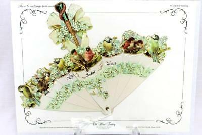 Vtg Victorian Old Print Factory Umbrella With Fondest Wishes Greeting Card NEW