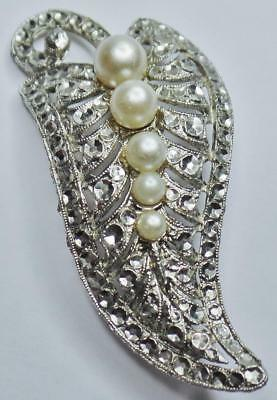 Art Deco Vintage Reflective Stamped Metal Rhinestone Faux Pearl Leaf Brooch Pin