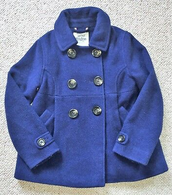 Girl's Mini Boden Coat - Navy Blue Military Style 59% WOOL - Aged 7 - 8 years