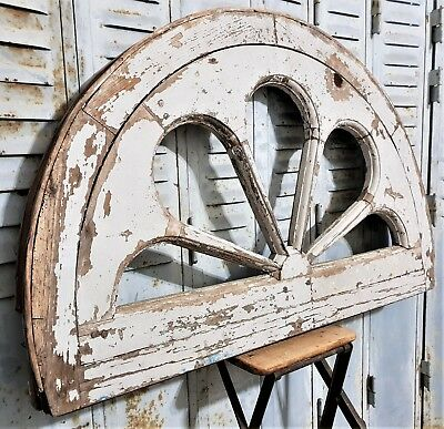 Architectural Salvage Transom Rare Antique French Carved Wood Old Paint Fanlight