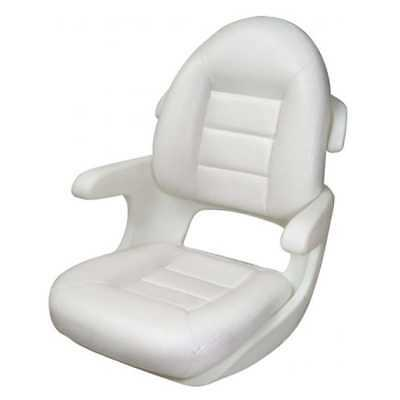 Tempress 57010 Elite Helm High Back Boat Seat White Marine with Cushion