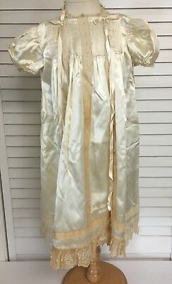 Vintage 1944 Victorian Ivory Satin CHRISTENING GOWN Dress With Embroidery & Lace