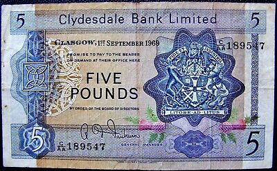 Clydesdale Bank Ltd Glasgow 1st September, 1969 FIVE POUND ( £5 ) Banknote