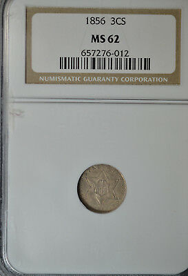 1856 3 cent Silver, type II, NGC MS62