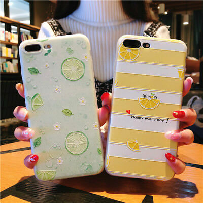 For iPhone X 8 6s 7 Plus Cute Fruits Lemon Pattern Slim Relief Soft Case Cover