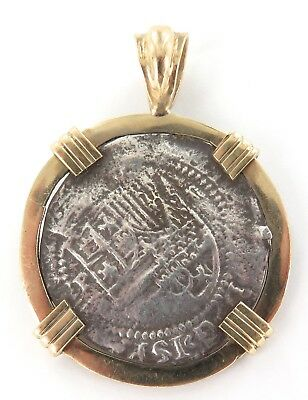 .1500s / 1600s SPANISH SILVER REAL IN HEAVY SET 14K / 18K GOLD FRAME. PENDANT