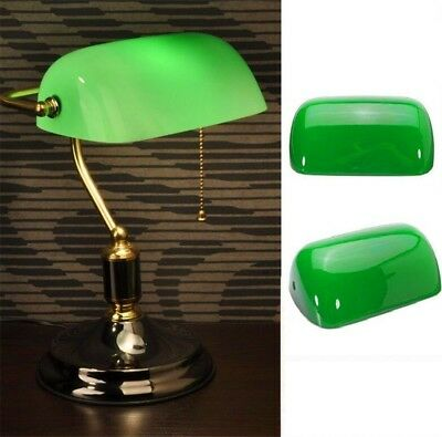 """Vintage Green Desk Banker Lamp Shade Cover Cased Replacement Lampshade 9"""" X 5"""""""