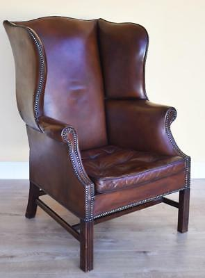 Georgian Style Hand Dyed Leather Wing Back Arm Chair