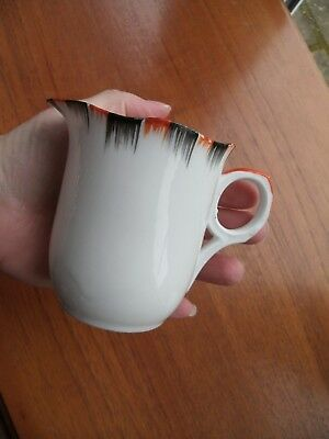 PRETTY VINTAGE MELBA BONE CHINA MILK JUG WHITE WITH ORANGE BLACK DESIGN 1940/50s