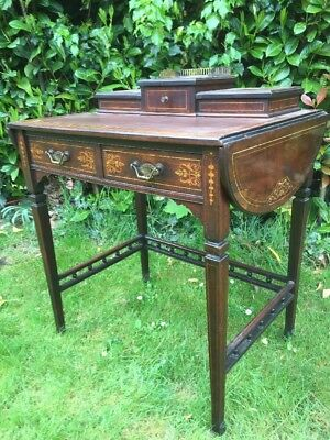Antique Sheraton Revival Inlaid Writing Desk Drop End Rosewood Desk C1900