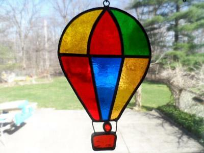 Vintage Leaded Slag Stained Glass Hot Air Baloon Suncather