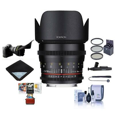 Rokinon 50mm T1.5 Cine DS Lens for Canon EF Mount With Free Mac Accessory Bundle