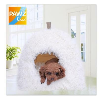 White Pet Dog Cat Bed Plush Puppy Kitten Kennel Non-Slip Cushions Small Cave