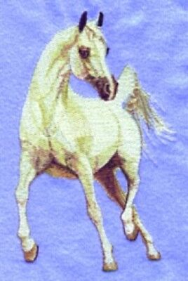 Large Embroidered Zippered Tote - White Arabian Horse BT2318
