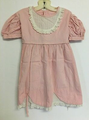 Vintage Tagged Mary Jane Pink Girl's Toddler Dress w White Collar Puffy Sleeves