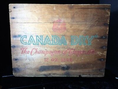 "Antique CANADA DRY Ginger Ale Wood Crate Shipping Box 9.5"" X 10.25"" X 13.5"""