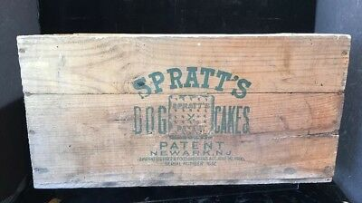 Antique Spratt's Dog Cakes Wood Advertising Crate Box Shipping Puppy Treat NJ