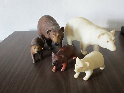 LOT of 5 Bear family families 2 Mommas 3 cubs vintage brown bears white cub baby