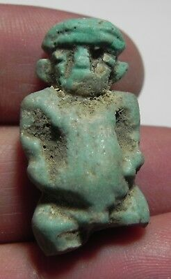 ZURQIEH -As4793-  ANCIENT EGYPT ,  FAIENCE AMULET OF PATAIKOS. 600 - 300 B.C