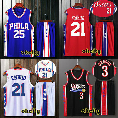 Philadelphia 76ers PHILA NBA Jersey Men Youth Adult Kid Outfit Men Child Set