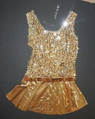 NWOT Gold Foil Dress Gold/Silver Sequin Medium Child Costuming Clear Straps