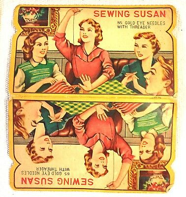 Vintage Sewing Susan Hand Sewing Needle Book Sewing Notions Lithograph JSN29
