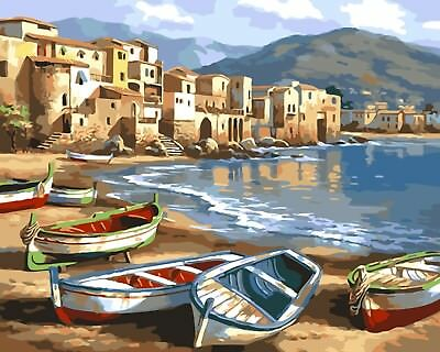 BEACH BOATS PAINTING PAINT BY NUMBERS CANVAS KIT 20 x 16 ins FRAMELESS LANDSCAPE