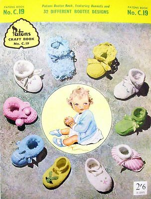 Patons Knitting & Crochet Pattern Book C.19 - 32 DIFFERENT BOOTEE DESIGNS - BABY