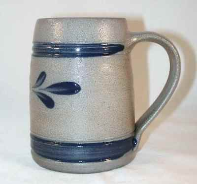 2000 Rowe Pottery 25th Anniversary Salt Glazed Stoneware Mug Cobalt Blue Design