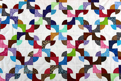 Fantastic Scrap Colors Drunkards Path QUILT TOP - Traditional pattern very nice