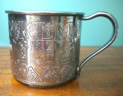 Antique Silver Plate Child's Alphabet Cup With Nursery Characters Animals