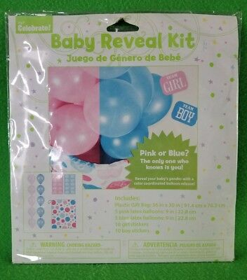 Way To Celebrate! Balloon Baby Reveal Kit - Contains Pink & Blue - New
